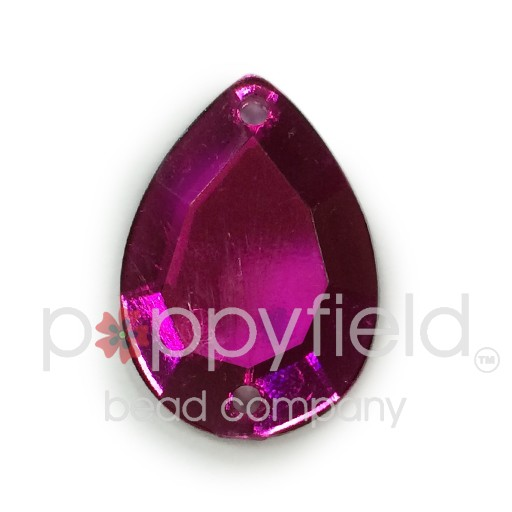 Czech Plastic Sew-On, Faceted Pear, 2-Hole, 18x13 mm, Fuchsia