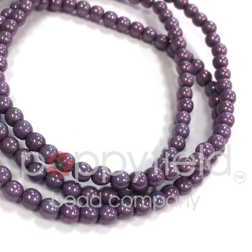 Czech Czech Druk Beads, 3 mm, Metallic Purple, approx. 50 pcs