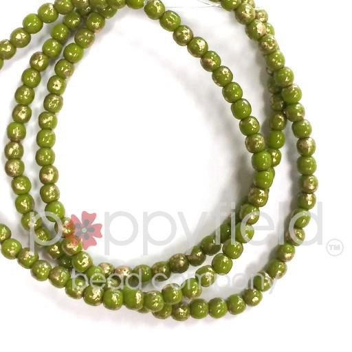 Czech Czech Druk Beads, 3 mm, Avocado and Gold, Approx. 50 pcs.