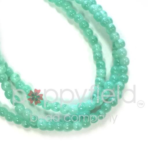 Czech Czech Druk Beads, 3 mm, Aqua, Approx.50 pcs