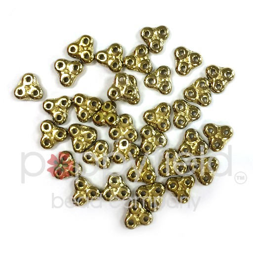 Czech 3-Hole Trinity Beads, 6 mm, Full Amber, 10g (approx. 85 pcs.)