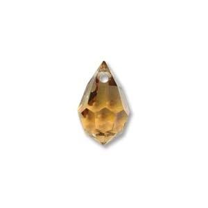 Czech Preciosa Crystal Drops, 6x10, Light Topaz AB, 4 pcs