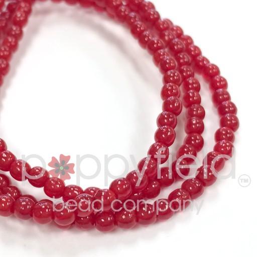 Czech Czech Druk Beads, 3 mm, Red Opal, approx. 50 pcs