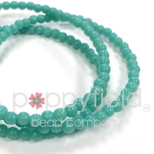 Czech Czech Druk Beads, 3 mm, Turquoise Opaque, approx. 50 pcs