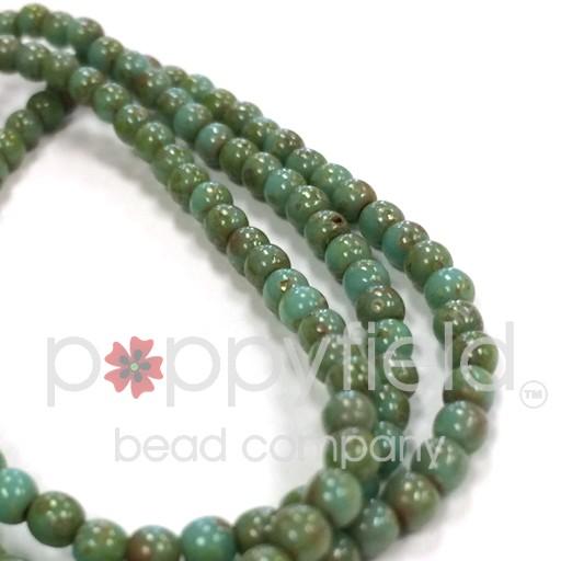 Czech Czech Druck Beads, 3 mm, Turquoise Picasso, approx. 50 pcs
