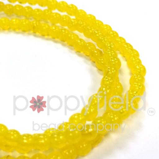 Czech Czech Druk Beads, 3 mm, Yellow Opalite, approx. 50 pcs