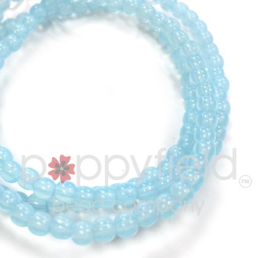 Czech Czech Druk Beads, 3 mm, Aqua Opalite, Approx. 50 pcs.