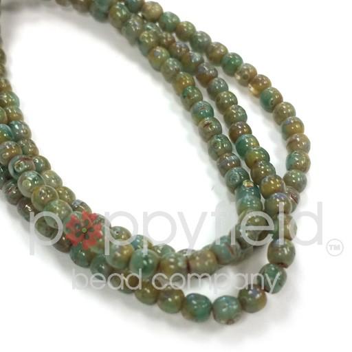 Czech Czech Druk Beads, 3 mm, Green Picasso, Approx. 50 pcs