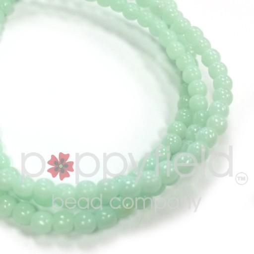 Czech Czech Druk Beads, 3 mm, Green Mint, Approx.50 pcs