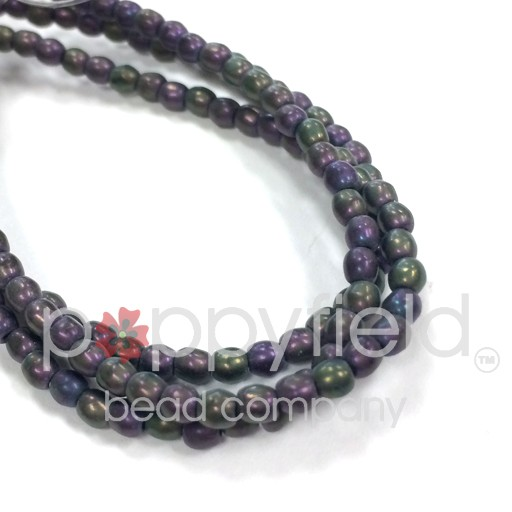 Czech Czech Druk Beads, 3 mm, Purple Iris Matte, Approx. 50 pcs