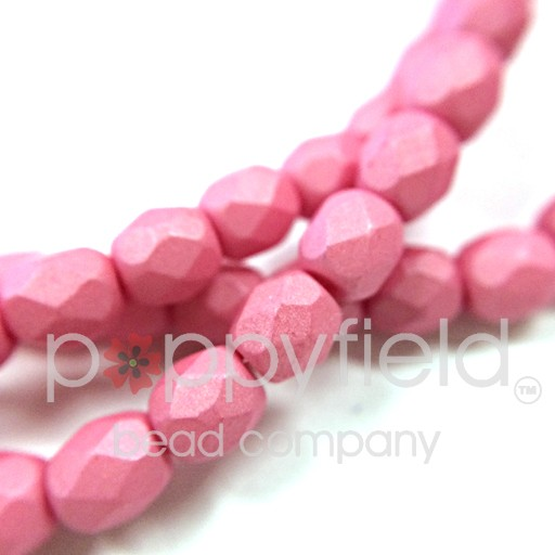 Czech Fire Polish, 3 mm, Saturated Pink, 50 pcs