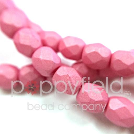 Czech Czech Fire Polish, 4mm, Saturated Pink, 50 pcs