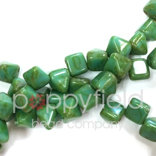 Czech 2-Hole Pyramid Stud Beads, 6mm, Turquoise Picasso, 25 Beads/Strand