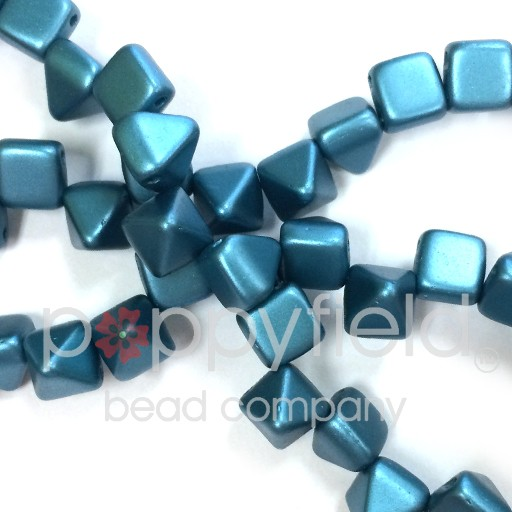 Czech 2-Hole Pyramid Stud Beads, 6mm, Pastel Emerald, 25 Beads/Strand