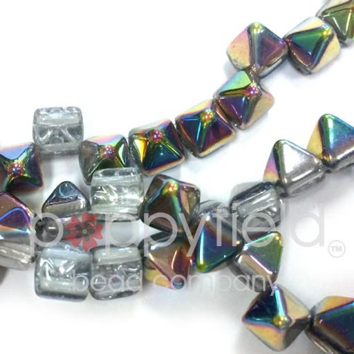 Czech 2-Hole Pyramid Stud Beads, 6mm, Crystal Vitrail, 25 Beads/Strand
