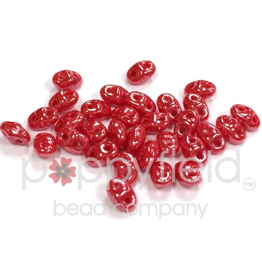 Czech MINI-DUO, Opaque Coral Red White Luster, 12g