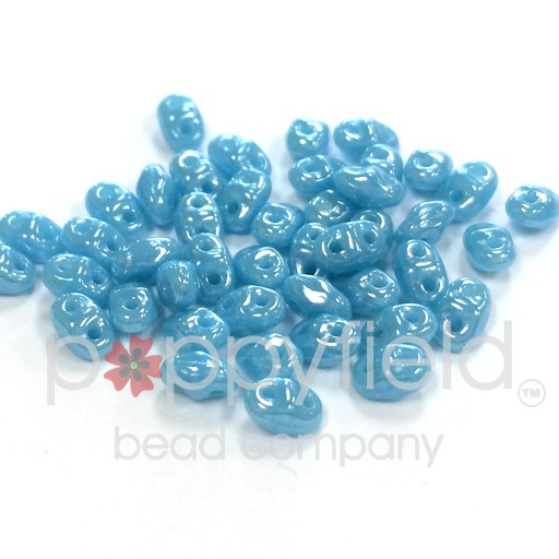 Czech MINI-DUO, Turquoise Blue White Luster, 12g