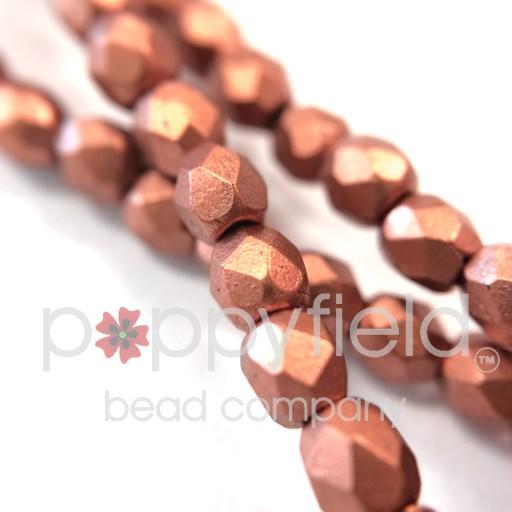 Czech Czech Fire Polish, 3 mm, Copper Matte, 50 pcs