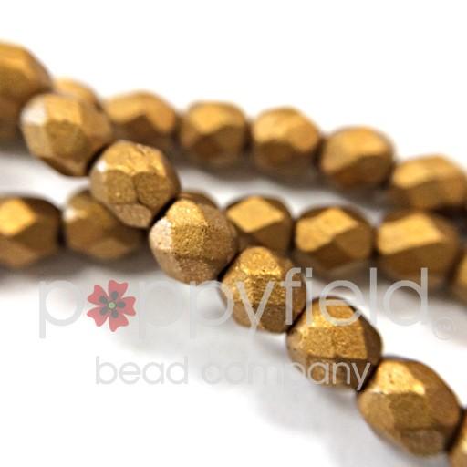Czech Czech Fire Polish, 4 mm, Matte Metallic Goldenrod, 50 pcs