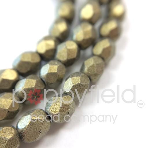 Czech Czech Fire Polish, 4mm, Metallic Suede Gold, 50 pcs