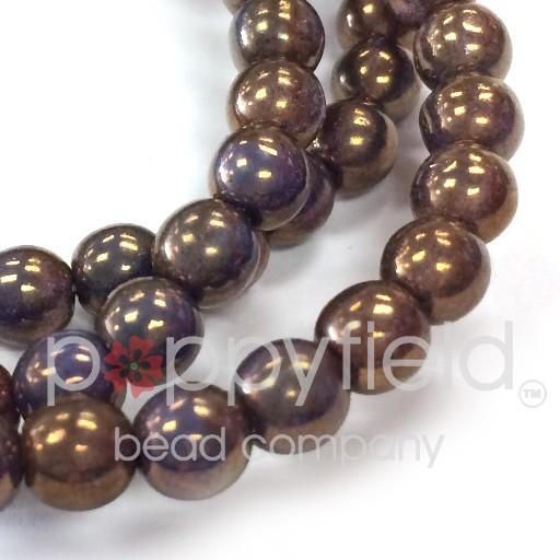 Czech Czech Druks, 6 mm, Bronzed Purple - may rub off