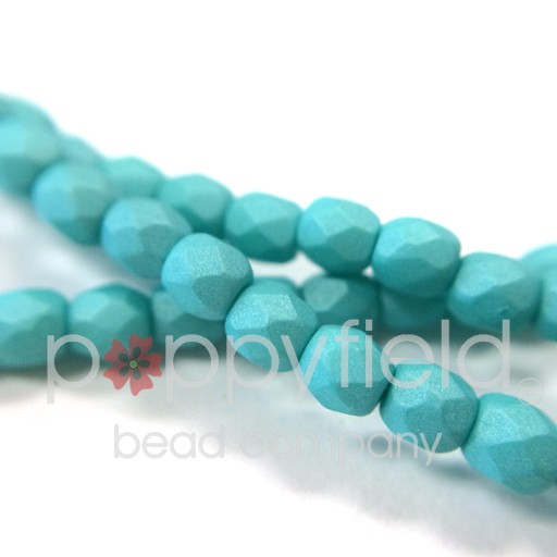 Czech Fire Polish, 3 mm, Saturated Teal, 50 pcs