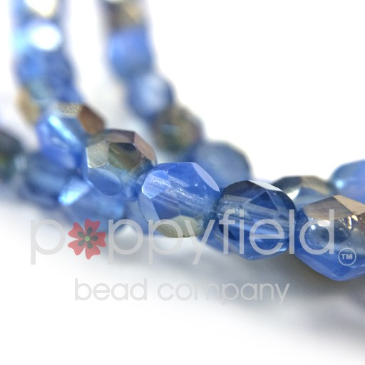 Czech Czech Fire Polish, 4 mm, Twilight Milky Sapphire, 50 pcs