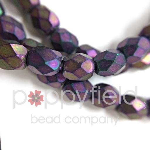 Czech Czech Fire Polish, 4 mm, Purple Iris Matte, 50 pcs