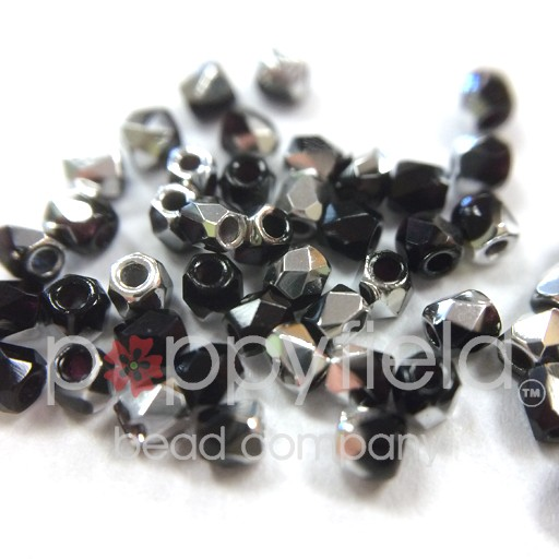 Czech Fire Polish, 2 mm, Jet Labrador, 2 gm, approx. 200 pcs