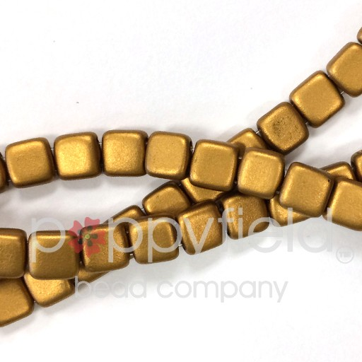 Czech 2 Holed Tile Beads, 6 mm, Matte Metallic Goldenrod, 50 pcs
