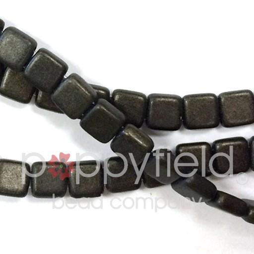 Czech 2 Holed Tile Beads, 6 mm, Metallic Suede Dark Green, 50 pcs