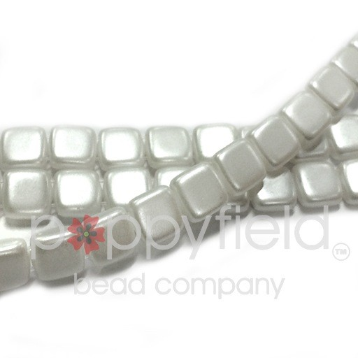 Czech 2 Holed Tile Beads, 6 mm, Pearl Coat Olive, 50 pcs