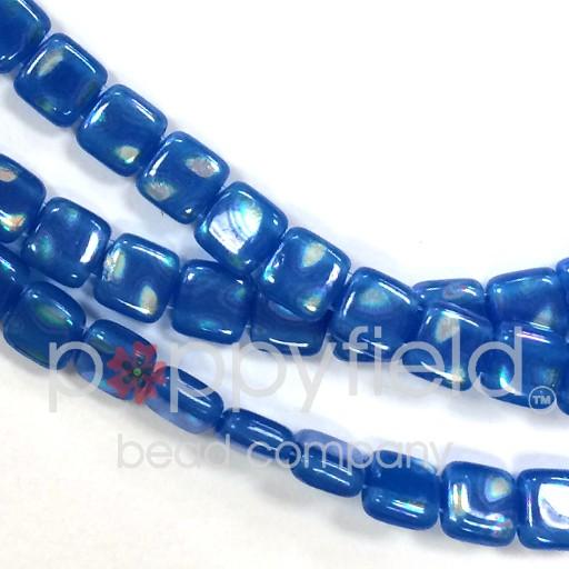 Czech 2 Holed Tile Beads, 6 mm, Peacock Milky Baby Blue, 50 pcs