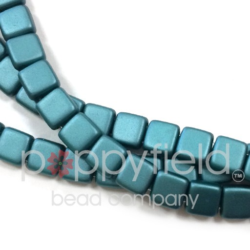Czech 2 Holed Tile Beads, 6 mm, Pearl Coat Teal, 50 pcs