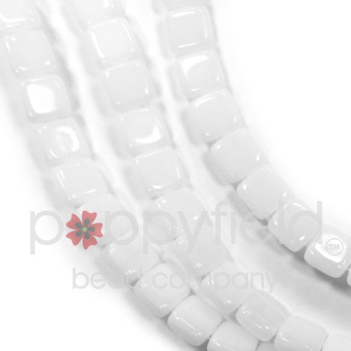 Czech 2 Holed Tile Beads, 6 mm, Opaque White, 50 pcs