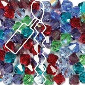 Czech Preciosa Bicone Strand, 4 mm, Gemtones Mix, 31 pcs