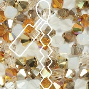 Czech Preciosa Bicone Strand, 4 mm, Honey Butter Mix, 31 pcs