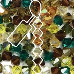 Czech Preciosa Bicone Strand, 6 mm, Earthtones Mix, 21 pcs