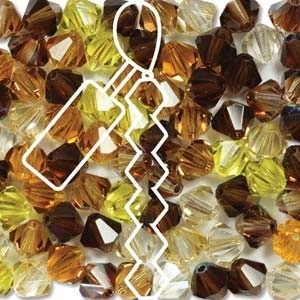 Czech Preciosa Bicone Strand, 4 mm, Wheatberry Mix, 31 pcs