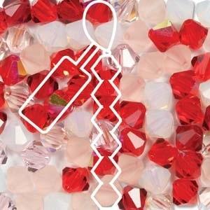 Czech Preciosa Bicone Strand, 6 mm, Strawberry Fields Mix, 21 pcs