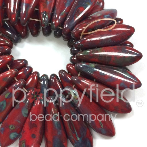 2-Hole Daggers, 5X16 mm, Opaque Red Picasso, 50 pcs