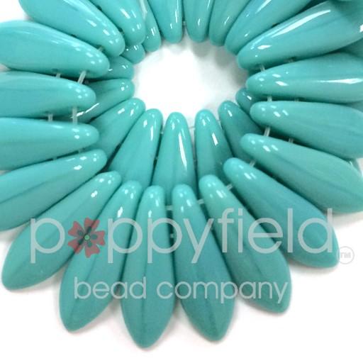 Czech 2-Hole Daggers, 5X16 mm, Opaque Turquoise, 50 pcs