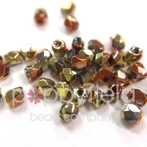 Czech Fire Polish, 2 mm, Crystral California Gold Rush, 2 gm, approx. 200 pcs