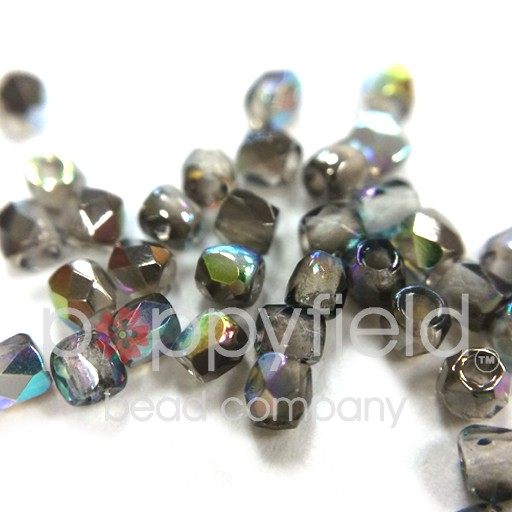 Czech Fire Polish, True 2 mm, Crystal Graphite Rainbow, 2g