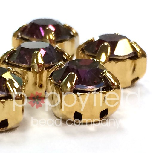 Austrian Swarovski 2-Hole Sliders, 29ss=6.5mm, Lilac Shadow/Goldtone Plate, 6 pcs