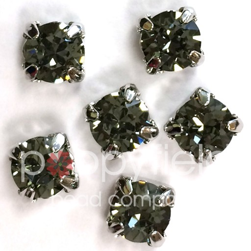 Austrian Swarovski 2-Hole Sliders, 29ss=6.5mm, Black Diamond/Silvertone Plate, 6 pcs<br />