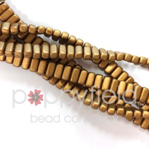 Czech Bricks, Matte Metallic Goldenrod, 50 pcs.