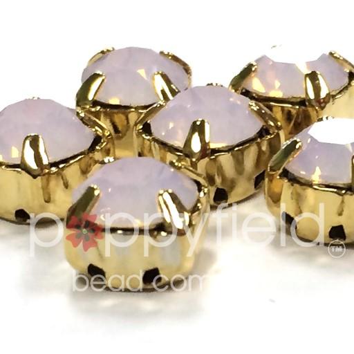 Austrian Swarovski 2-Hole Sliders, 29ss=6.5mm, Rose Water Opal/Goldtone Plate, 6 pc