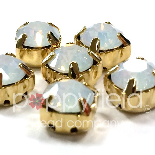 Austrian Swarovski 2-Hole Sliders, 29ss=6.5mm, White Opal/Goldtone Plate, 6 pcs