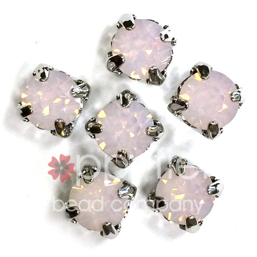 Austrian Swarovski 2-Hole Sliders, 29ss=6.5mm, Rose Water Opal/Silvertone Plate, 6 pcs